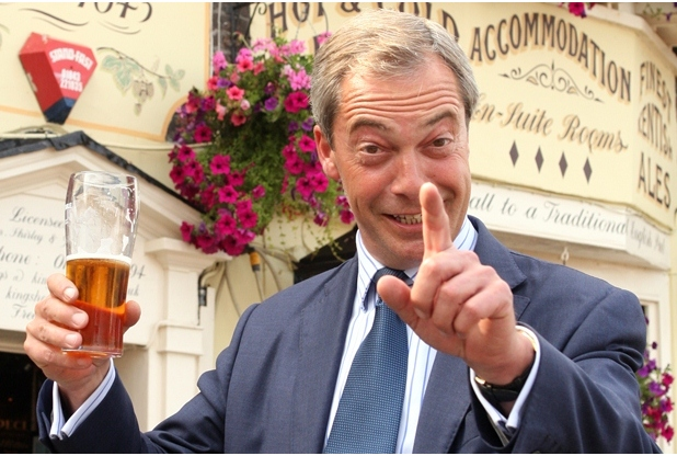 Phil Medgett. Pictured is MEP Nigel Farage at the Kings Head pub in Deal.