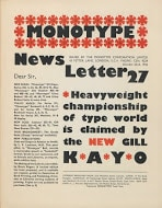 The release of Gill Kayo (UltraBold) in Monotype Newsletter No. 27 (1936) was certainly not understated