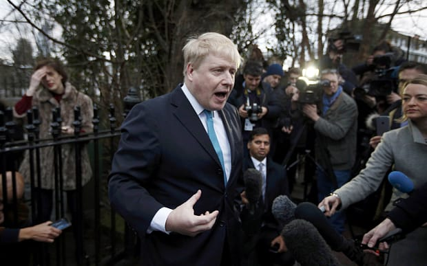 London Mayor Boris Johnson speaks in front of his home in London, Britain February 21, 2016. Britain will hold a referendum on European Union membership on June 23. REUTERS/Peter Nicholls