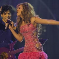2/8/04--Los Angeles , CA --Prince and Beyonce perform at the 46th Annual Grammy Awards in Los Angeles, CA--Photo by Robert Hanashiro/USA Today.