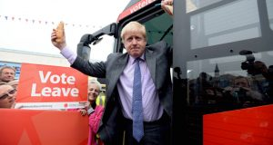 epa05299338 Former Mayor of London Boris Johnson poses as he launches the Vote Leave Bus Tour in St Austell, Cornwall, Britain, 11 May 2016. Boris Johnson is supporting the Brexit campaign touring the country with a bus.  EPA/STR UK OUT